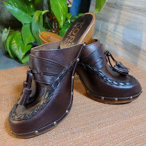KORS Michael Kors Dark Brown Leather Mule Heels